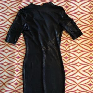 NWOT Black Faux Leather Fitted Midi Dress-Size S